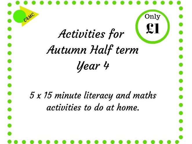 Autumn Half Term Activities for Year 4