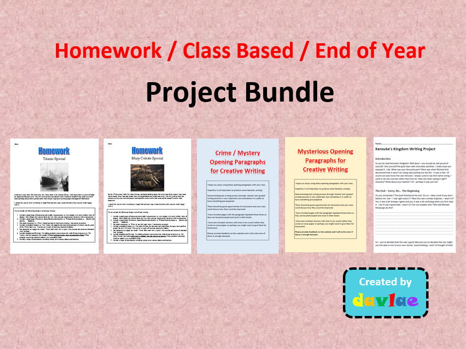 Homework / Class Based / End of Year Project Bundle