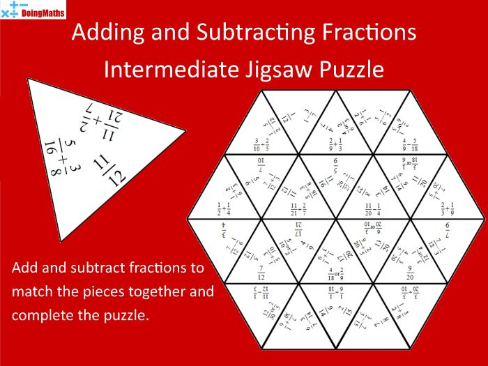 Adding and Subtracting Fractions intermediate Tarsia Jigsaw Puzzle