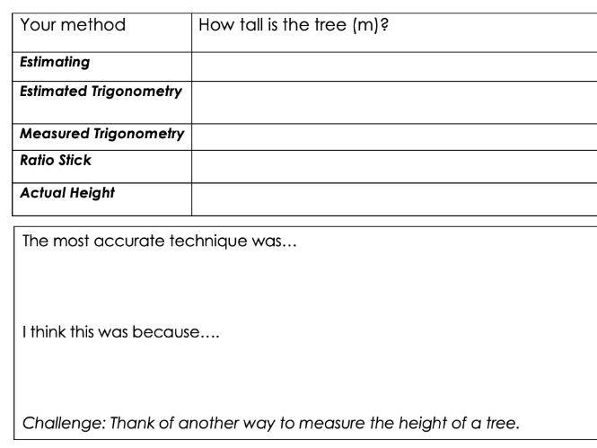 KS3 Forest Under Threat (Edexcel 9-1 B) Fieldwork Preparation Tree Measuring