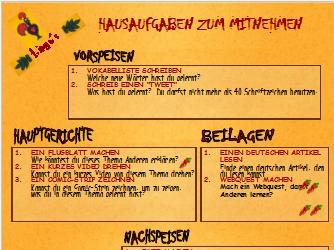 Takeaway Homework menu