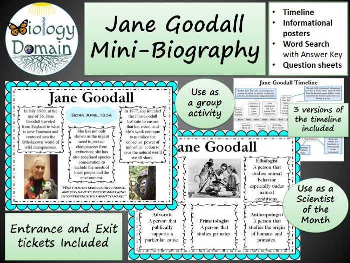 Jane Goodall Mini-Biography with posters, timeline, and more!