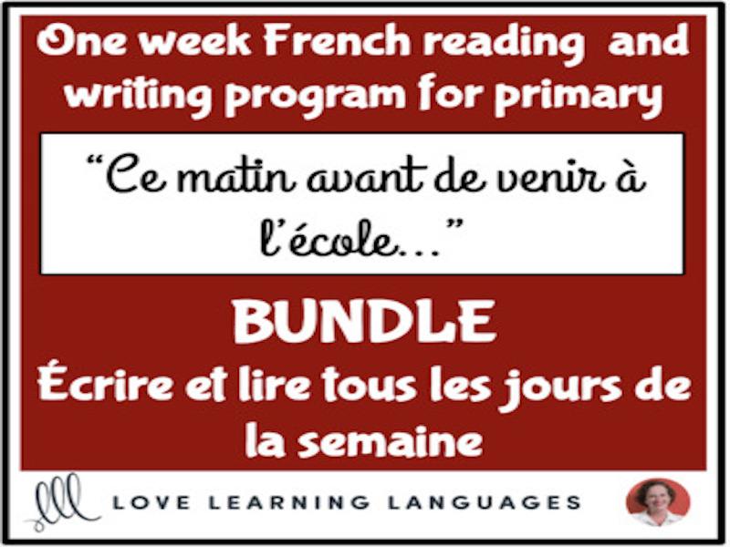 Lire et écrire tous les jours #1 - French primary reading and writing BUNDLE