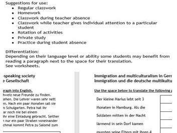 A-level AQA or Edexcel 'multicultural issues' translation German to English