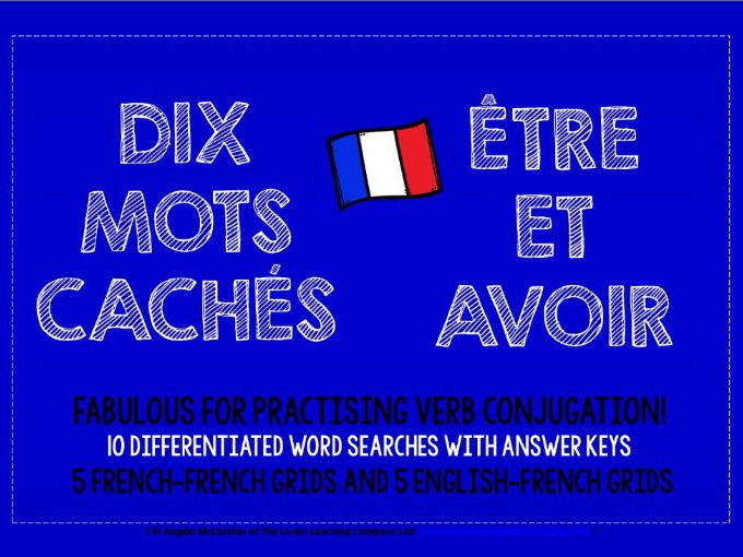 PRIMARY FRENCH - ÊTRE & AVOIR - 10 DIFFERENTIATED WORD SEARCHES