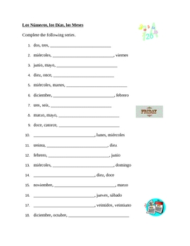 Numeri, Giorni, Mesi (Numbers, Days, Months in Italian) Worksheet by ...