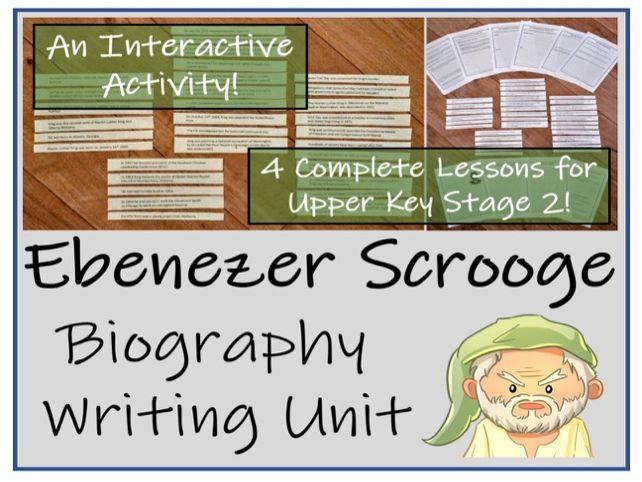 UKS2 Literacy - Ebenezer Scrooge Biography Writing Activity