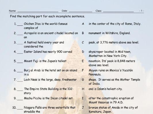 Tourist Attractions Around The World Sentence Match Worksheet