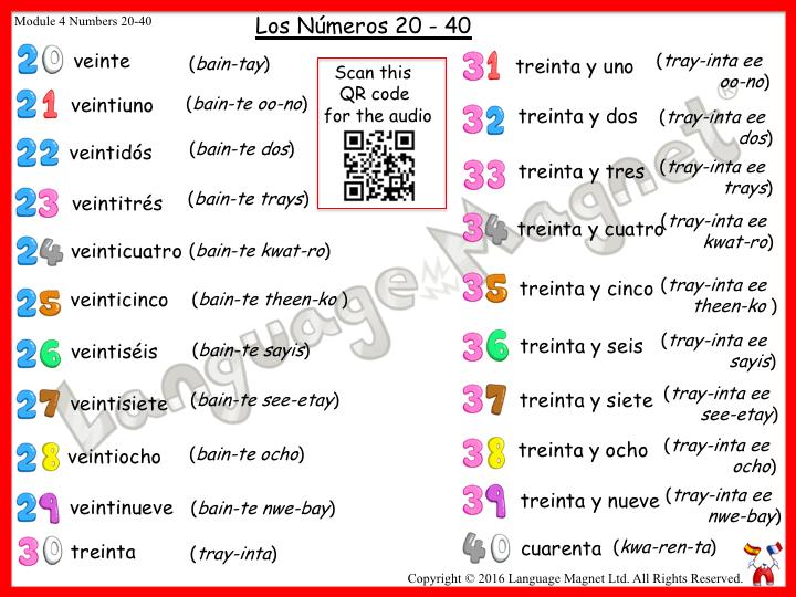 Spanish Numbers 20 to 40 Audio Sheet