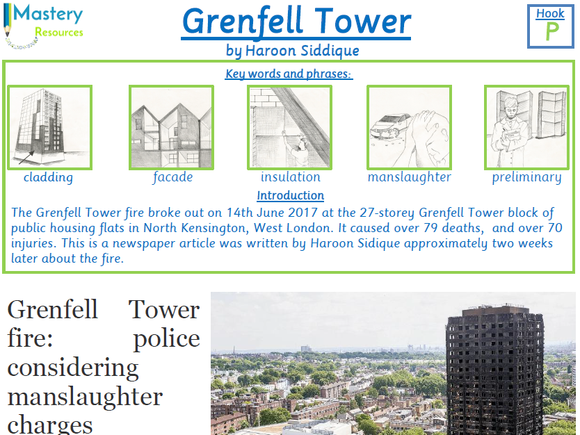 Grenfell Tower Newspaper Guardian Comprehenion KS2