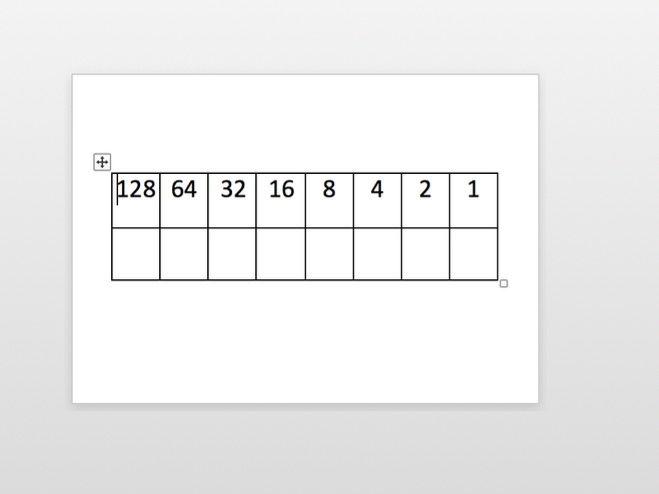 Binary Conversion Table - free mini white board binary grid