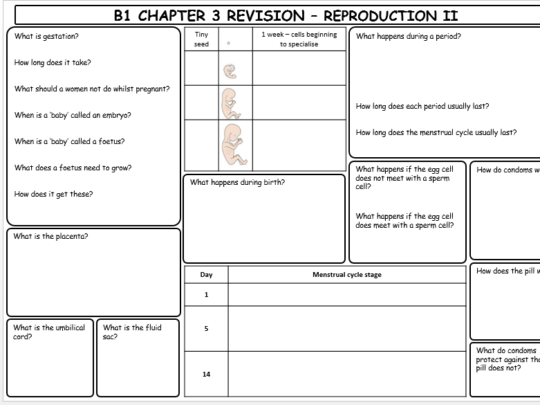 KS3 Oxford Activate Reproduction topic revision sheets WITH ANSWERS
