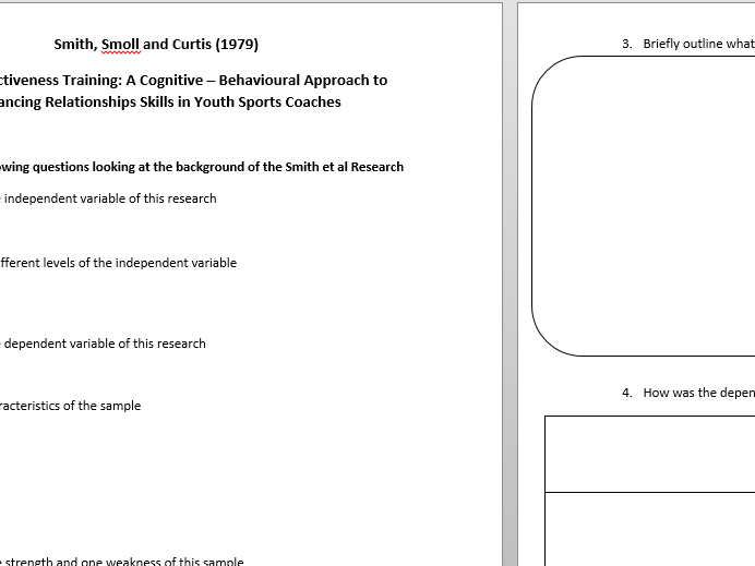 Topic 4 - Sport and Exercise. Applied Studies worksheets