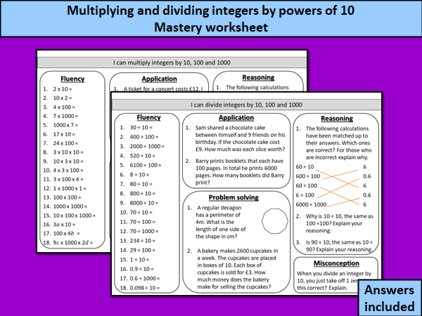 Multiplying and dividing integers by powers of 10 - mastery worksheets