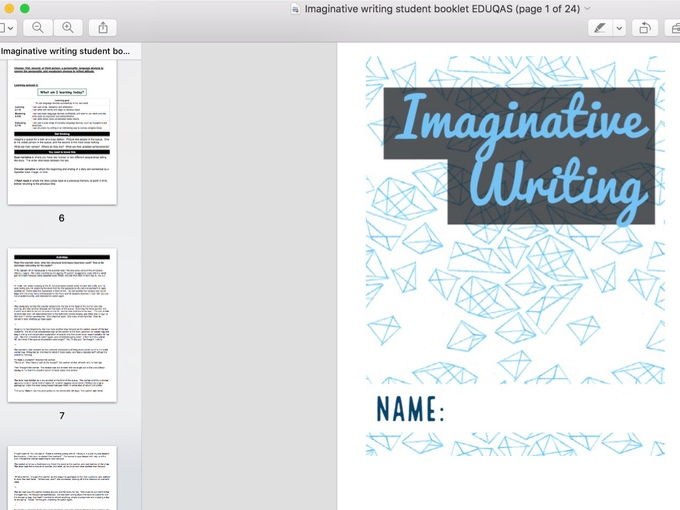 Creative Writing Booklet for EDUQAS Language C1 Section B