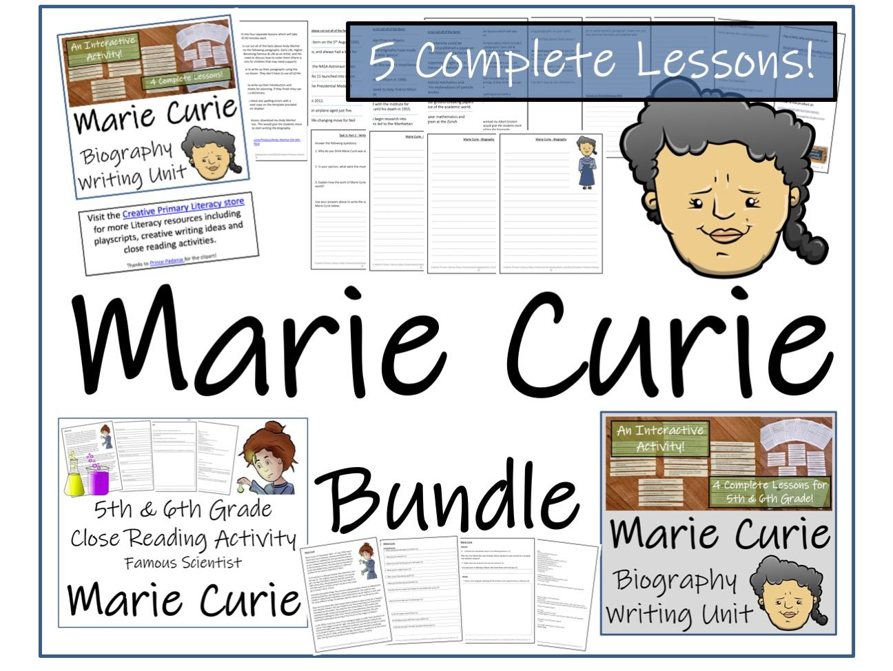 UKS2 Literacy - Marie Curie Reading Comprehension & Biography Bundle
