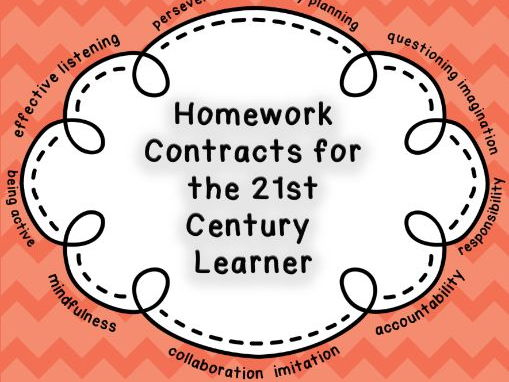 Homework Contracts for 21st Century Learners - Grade 1/2 - KS1 - WHOLE YEAR BUNDLE!