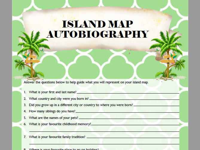 Introduction Activity - Autobiography Island Map