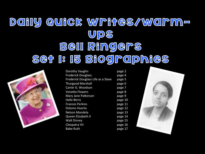 Daily Quick Writes/Warm-Ups Bell Ringers Set 1: 15 Biographies