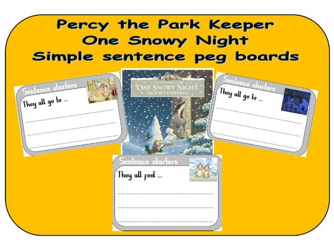 Percy the Park Keeper - One Snowy Night - Sentence starter boards
