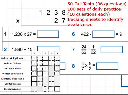 Arithmetic - 50 full test/100 daily practices - Complete KS2 Year 6 Revision/Practice