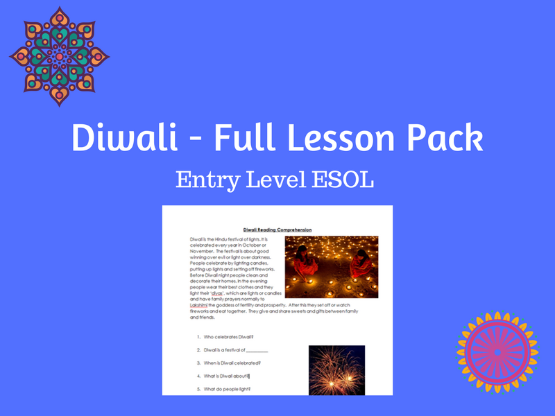 Diwali - Full lesson pack for ESOL/EAL/ESL/EFL/literacy/ALD learners