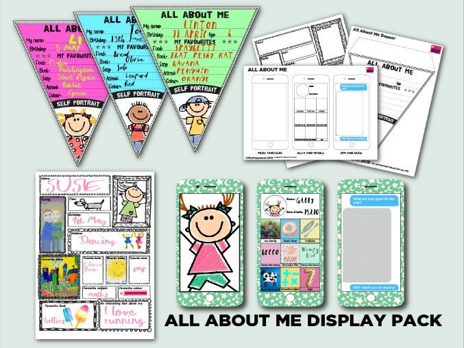 All About Me Display Pack, All About Me Banner, Back to School Activity
