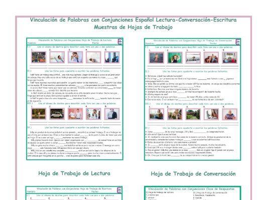 Linking Words Spanish Reading-Conversation-Writing Worksheets