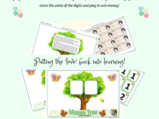 Place Value Maths Game KS1 Money Tree for 2-digit numbers