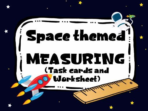 Space themed Measuring. Worksheet and Task Cards