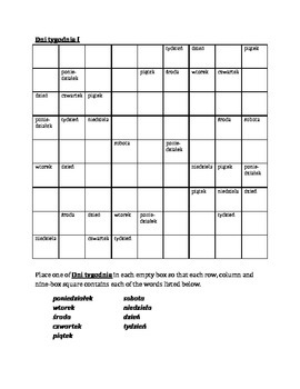 Dni tygodnia Days of the week in Polish Sudoku