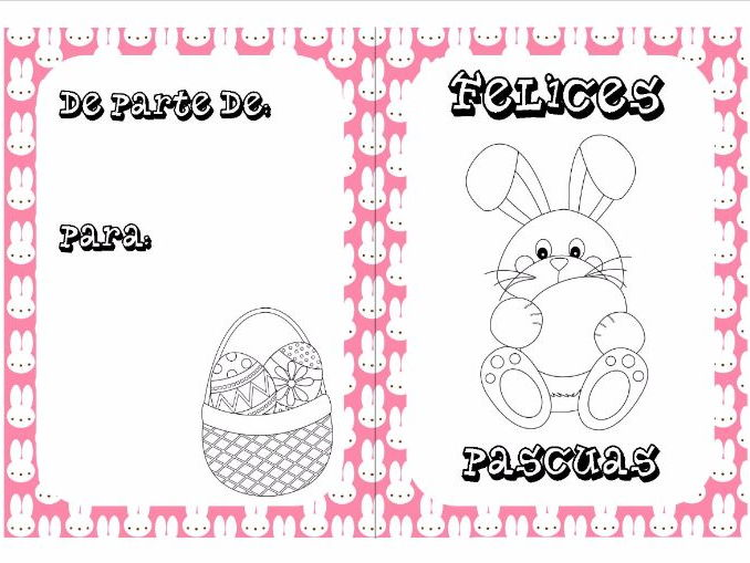 Spanish Easter colouring cards 1