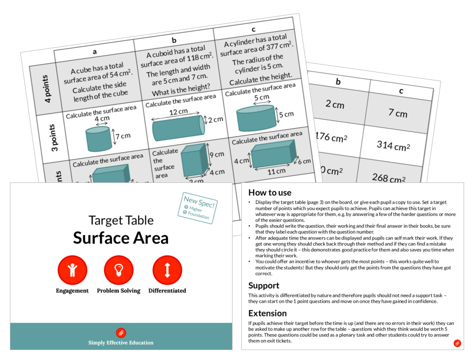 Surface Area (Target Table)