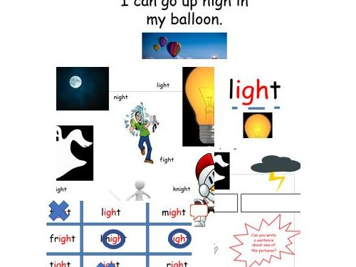 'igh' phase 3 phonics lesson teaching presentation and writing reading activities remote learning