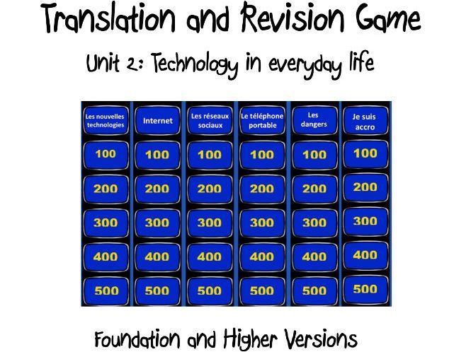 Translation and Revision Game- Unit 2: Technology in everyday life- GCSE French