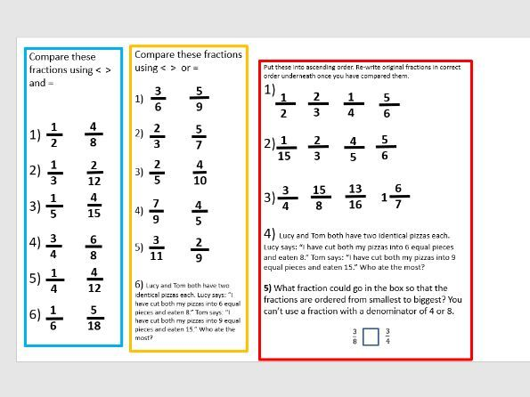 Comparing fractions year 6 two lessons