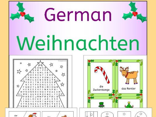 German Weihnachten - Christmas vocabulary activities, puzzles, games, cards