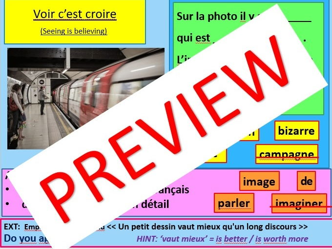 French Reading Images Photo/Picture Card Discussion GCSE Speaking Test Prep 2018 (Differentiated)