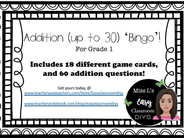 Math Bingo Game (Addition up to 30)