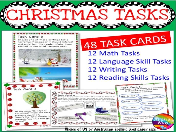 CHRISTMAS Activities BUNDLE Task Cards Reading Writing Maths Language SET 1