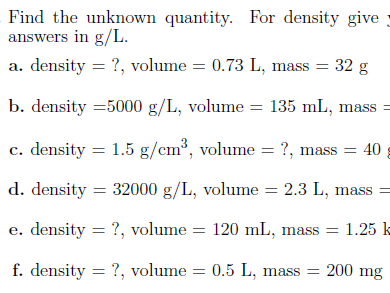 Speed and density worksheets (with solutions)