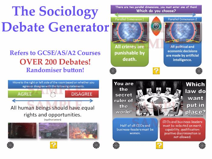 The Sociology Debate Generator! (200 DEBATES for GCSE/AS/A2) [Revision, Discussions] AQA/OCR (P4C)