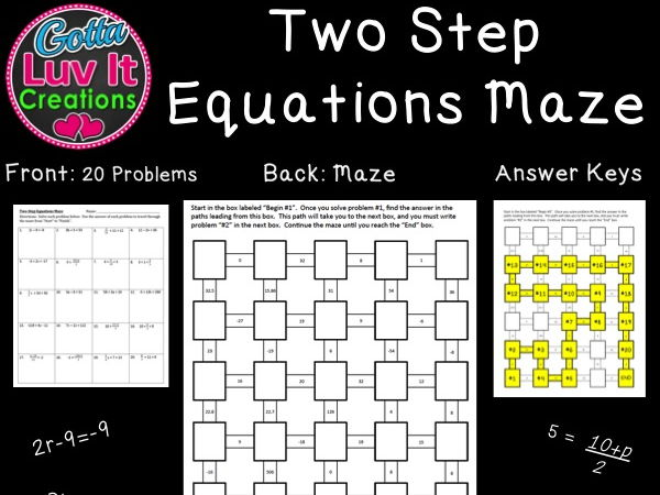 Solving Equations Two Step Equations - 2 Mazes