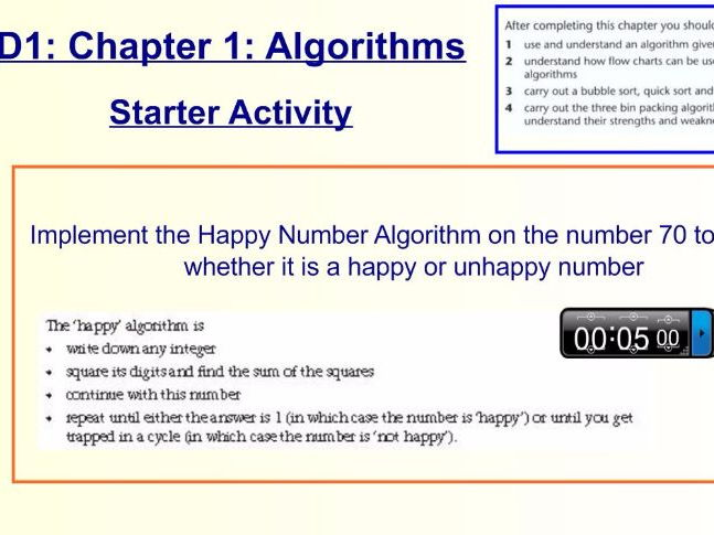 Decision 1 Chapter 1 Algorithms