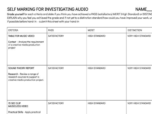 Media Production Unit 5 - Investigating audio production & technology UAL Self marking pre-hand in