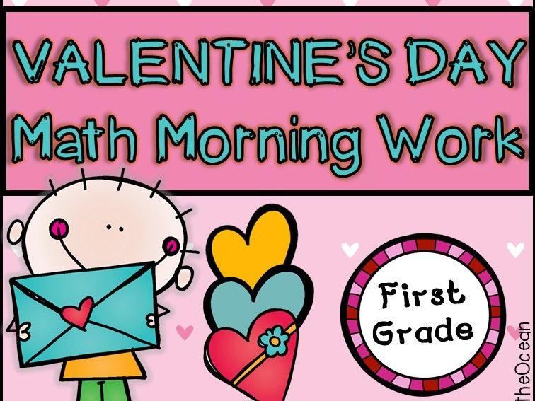 Valentine's Day First Grade Math Morning Work