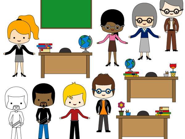 Meet the teachers clip art - Multicultural teachers clipart - teachers desk graphics