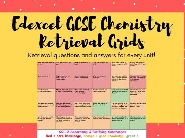 GCSE Edexcel Chemistry (Combined) Retrieval Grids