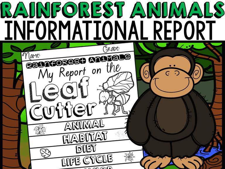 ANIMAL REPORT: RAINFOREST ANIMALS: INFORMATIVE WRITING: RESEARCH TEMPLATES