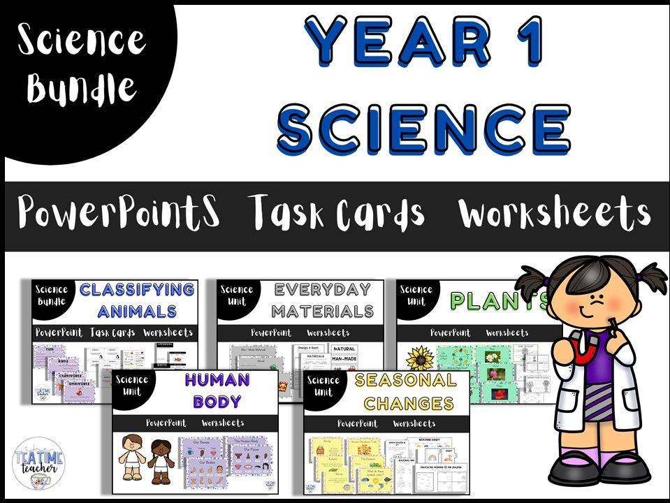Year 1 Science Bundle Lesson PowerPoints and Worksheets